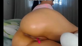PAWG Babe Anal Fucking Her Dildo and Fingering Ass Crevice