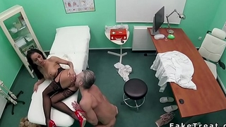 Big cock doctor bangs babe in fishnets