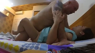 Real Cheating Korean housewife gets smashed and eats my cum