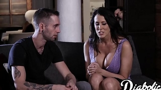 Cum tasting stepmom Reagan Foxx bouncing on younger cock