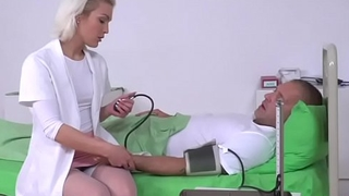 Hot Blond Nurse Checks The Pulse In His Penis