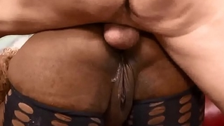 Fat ebony whore gags on cocks &amp_ does ass to mouth
